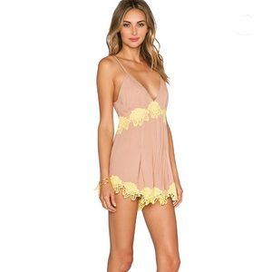 NBD Forever n Ever Nude Lace Romper Sz M